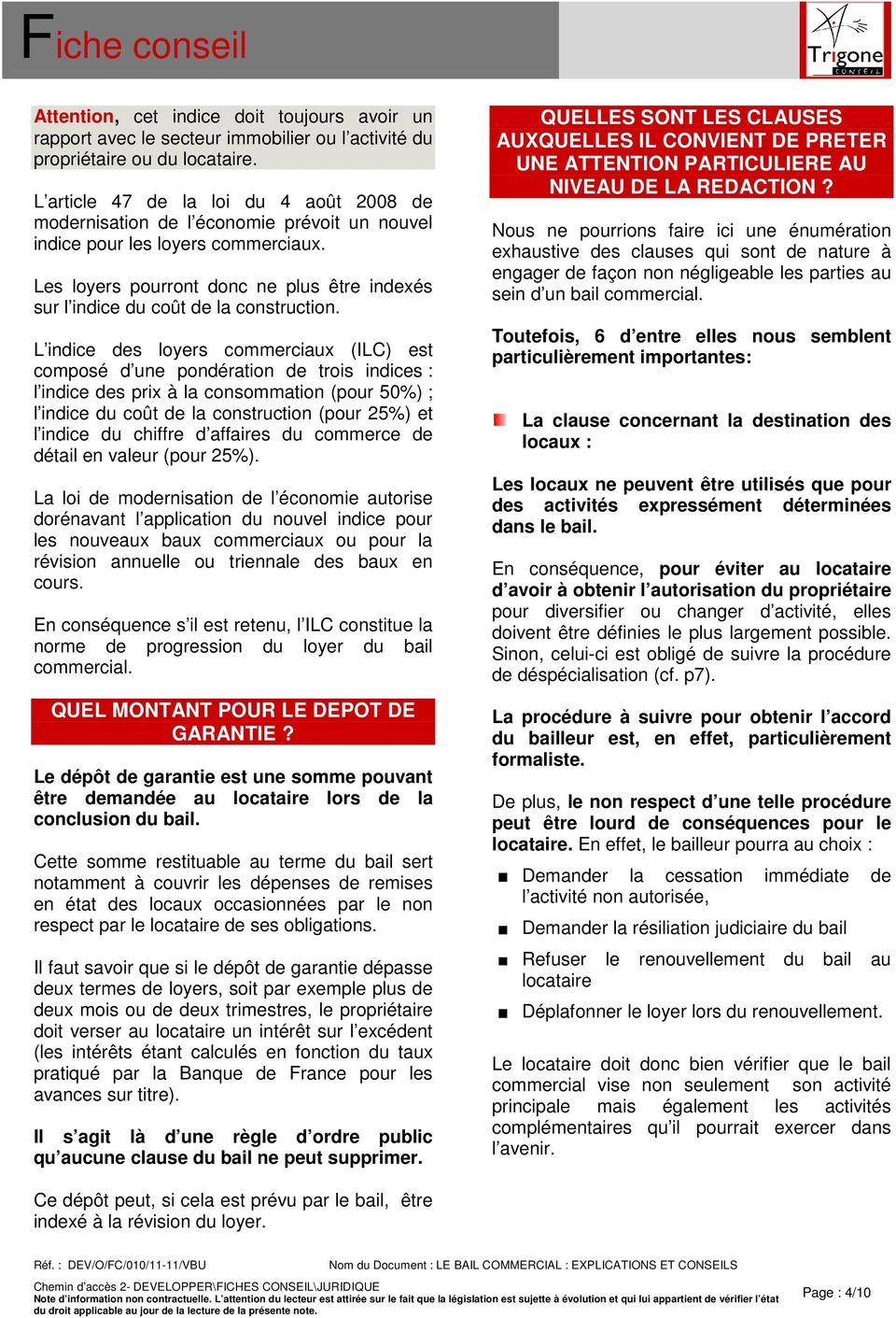 Revision depot de garantie bail professionnel